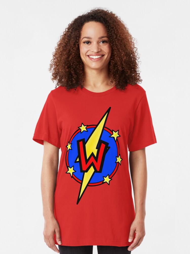 Alternate view of Cute Little SuperHero Geek - Super Letter W Slim Fit T-Shirt