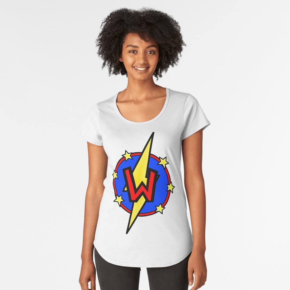 Cute Little SuperHero Geek - Super Letter W Premium Scoop T-Shirt