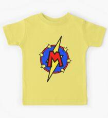 Cute Little SuperHero Geek - Super Letter M Kids Tee