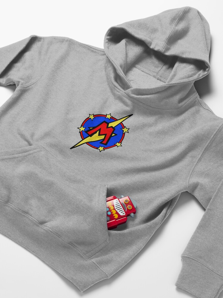 Alternate view of Cute Little SuperHero Geek - Super Letter M Kids Pullover Hoodie