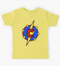 Cute Little SuperHero Geek - Super Letter C Kids Tee
