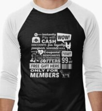 Funny Sales Discount Infographics  Men's Baseball ¾ T-Shirt