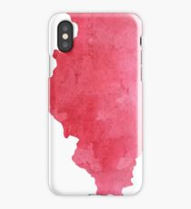 Red Watercolor Illinois iPhone Case/Skin