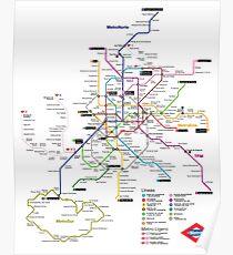 Póster Mapa del metro de Madrid - España