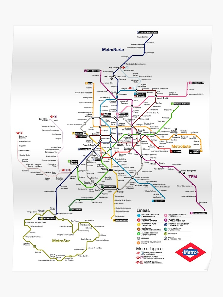 Subway Map Of Madrid Spain.Madrid Metro Map Spain Poster
