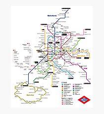 Madrid Metro Map - Spain Photographic Print