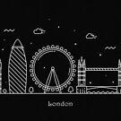London Skyline Minimal Line Art Poster by A Deniz Akerman