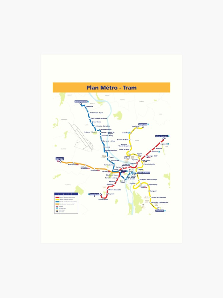 Map Of France To Print.Toulouse Metro Map France Art Print