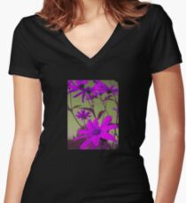 Lilac Flowers with Yellow Sky T-Shirt Women's Fitted V-Neck T-Shirt