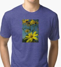 Yellow Flowers with Blue Sky T-Shirt Tri-blend T-Shirt