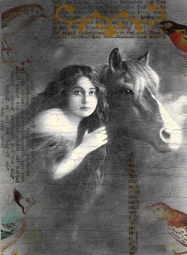 Vintage Horse Digital Collage by angelandspot