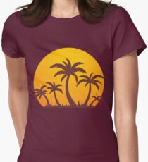 Palm Trees and Sun Women's Fitted T-Shirt
