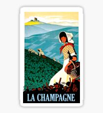 Champagne, woman on vineyard holding a basket full of grapes Sticker