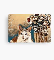 CatAndFlowers Canvas Print