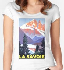 Savoie mountains, France, vintage travel poster Women's Fitted Scoop T-Shirt