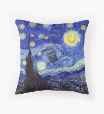 A Starry Night Van Gogh Mountain Inspiration With Tardis Floor Pillow