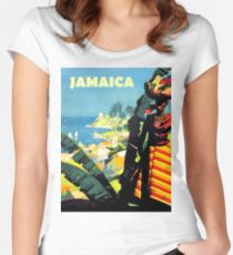 Jamaica, woman with fruit basket on her head, vintage travel poster Women's Fitted Scoop T-Shirt