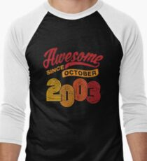Awesome Since October 2003 Shirt Vintage 15th Birthday Men's Baseball ¾ T-Shirt