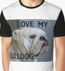 bulldog white love with picture Graphic T-Shirt