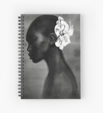 Beautiful pioneer, Fashion Illustration Modern Sumi-e Painting Ink Zen Print Drawing Model Wall Deco Design Brush B&W Vogue Spiral Notebook