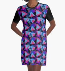 Cool Triangle 90s Print Graphic T-Shirt Dress
