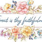 Groß ist deine Treue | Bibelvers Kunst von PraiseQuotes