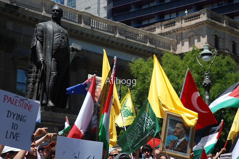 Sir Redmond Barry protesting against Israel by Alihogg