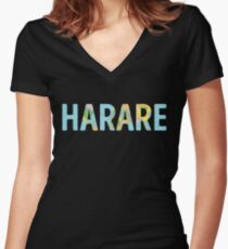 Harare World Map - Cool Zimbabwe Traveler Gift Shirt mit V-Ausschnitt