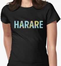 Harare World Map - Cool Zimbabwe Traveler Gift Tailliertes T-Shirt für Frauen