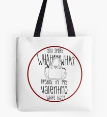 bdcde95d0c33 WHAHHAHAWAHHA lipstick in my valentino white bag  (vine) Tote Bag