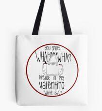 f8f86e2087c7 WHAHHAHAWAHHA lipstick in my valentino white bag  (vine) Tote Bag