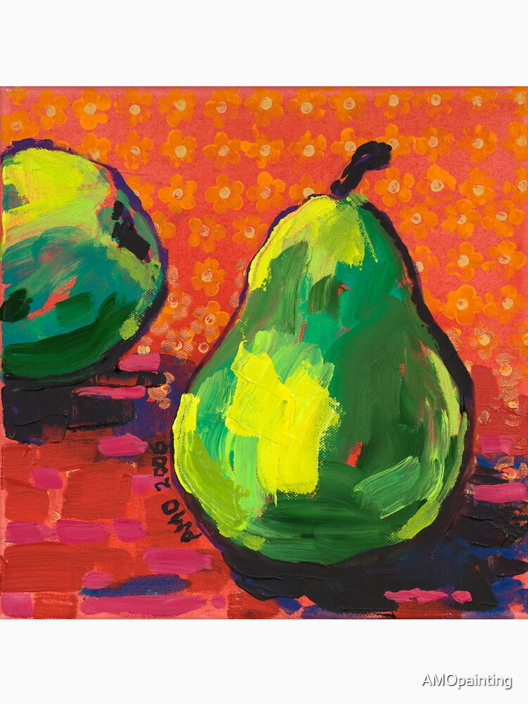 Green Pears Orange Background by AMOpainting