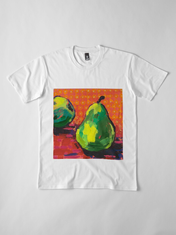 Alternate view of Green Pears Orange Background Premium T-Shirt