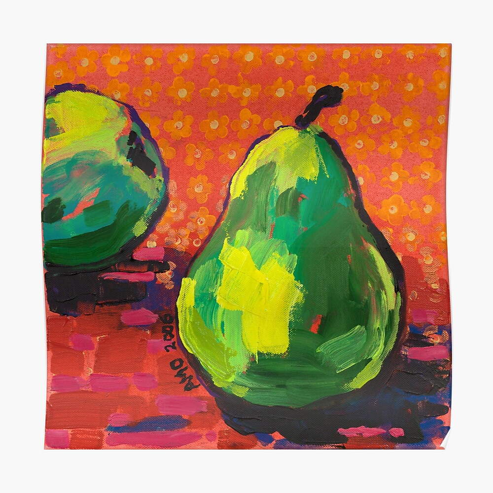 Green Pears Orange Background Poster