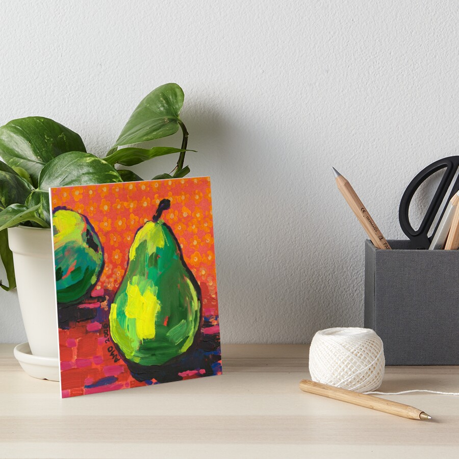 Green Pears Orange Background Art Board Print