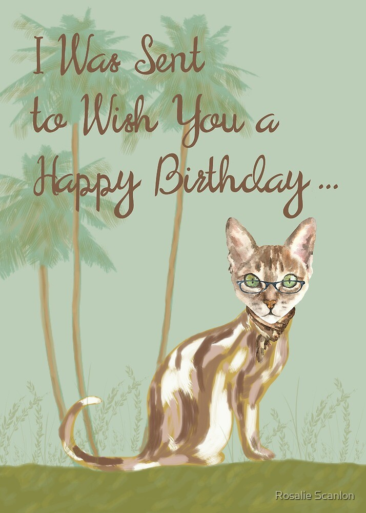 Cat Birthday Card by Rosalie Scanlon