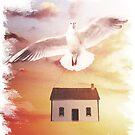 Bird Carrying House by zachsymartsy