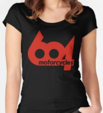 604 logo (corsa red) Women's Fitted Scoop T-Shirt