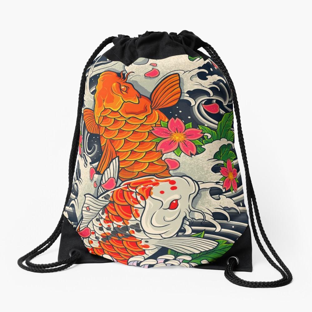 Koi Fish Pond  Drawstring Bag