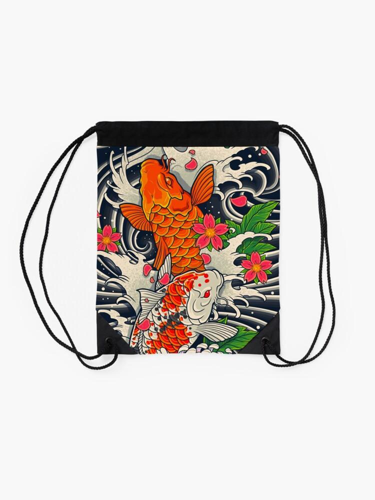 Alternate view of Koi Fish Pond  Drawstring Bag