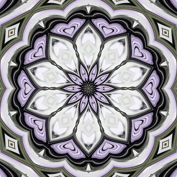 Ultra Violet Silver and Lilac Abstract Floral Pattern by taiche