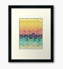 Pattern of squares with gold IV Framed Print
