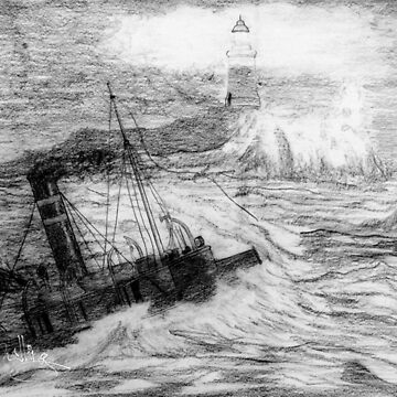 My pencil drawing of Distress at Corbiere Light, Channel Islands by ZipaC