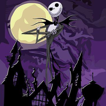 Fantasma flaco de Halloween con cielo púrpura de GalihArt