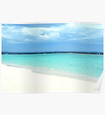 Paradise landscape with clear blue water in the Maldives Poster