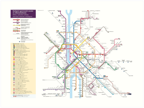 Budapest Metro Tram Railway Map Hungary Art Prints by superfunky