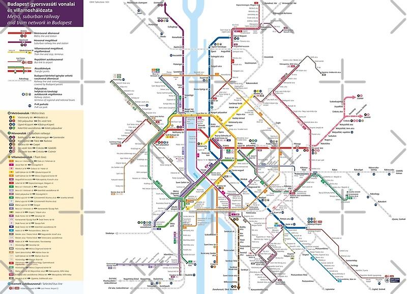 Metro Karte Budapest.Budapest Metro Tram Eisenbahn Karte Ungarn Kunstdruck