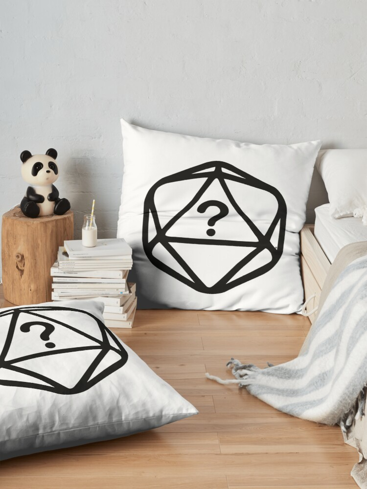 Alternate view of D20 Mystery Black Lines Dice Single Floor Pillow