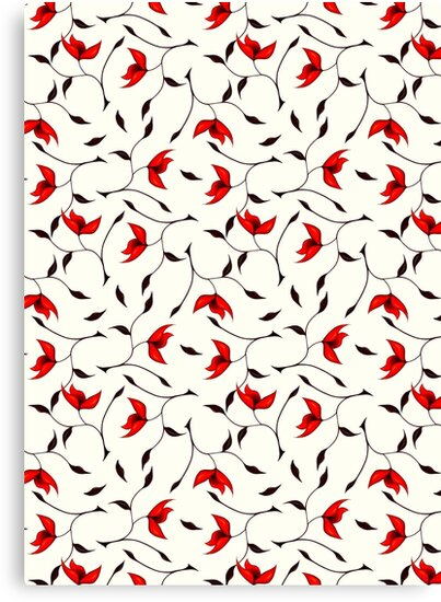 Delicate Red Flower Pattern by Boriana Giormova