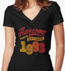 Awesome Since October 1993 Shirt Vintage 25th Birthday Women's Fitted V-Neck T-Shirt